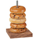 Cal-Mil 22128-49 Mid-Century 6 1/2 inch Walnut Wood and Chrome Single Pole Bagel Display