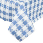 Blue-Checkered Vinyl Table Cover with Flannel Back, 25 Yard Roll