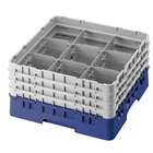 Cambro 9S958168 Blue Camrack Customizable 9 Compartment 10 1/8 inch Glass Rack