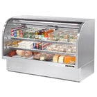True TCGG-72-S-LD 72 inch Stainless Steel Curved Glass Refrigerated Deli Case - 37.1 Cu. Ft.
