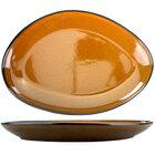 International Tableware LU-139-TA Luna 13 1/4 inch x 9 1/4 inch Terracotta Oval Coupe Porcelain Platter - 12/Case