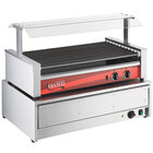 Avantco RG1850NS 50 Hot Dog Non-Stick Roller Grill with 48 Bun Warmer and Pass-Through Canopy - 120V, 1460W