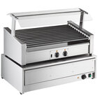 Avantco RG1850SLT 50 Slanted Hot Dog Non-Stick Roller Grill with 48 Bun Warmer and Pass-Through Canopy - 120V, 1460W