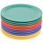GET NP-9-MIX Diamond Mardi Gras 9 inch Narrow Rim Round Melamine Plate, Assorted Colors - 24/Case