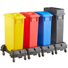 Lavex Janitorial 23 Gallon 4-Stream Slim Rectangular Mobile Recycle Station with Black Drop Shot, Blue Paper Slot, Red Bottle / Can, and Yellow Bottle / Can Lids
