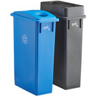 Lavex Janitorial 23 Gallon 2-Stream Slim Rectangular Recycle Station with Black Drop Shot and Blue Bottle / Can Lids