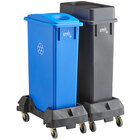 Lavex Janitorial 23 Gallon 2-Stream Slim Rectangular Mobile Recycle Station with Black Drop Shot and Blue Bottle / Can Lids