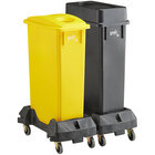 Lavex Janitorial 23 Gallon 2-Stream Slim Rectangular Mobile Recycle Station with Black Drop Shot and Yellow Bottle / Can Lids