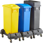 Lavex Janitorial 23 Gallon 3-Stream Slim Rectangular Mobile Recycle Station with Black Drop Shot, Blue Paper Slot, and Yellow Bottle / Can Lids