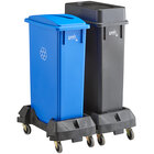 Lavex Janitorial 23 Gallon 2-Stream Slim Rectangular Mobile Recycle Station with Black Drop Shot and Blue Paper Slot Lids