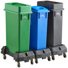 Lavex Janitorial 23 Gallon 3-Stream Slim Rectangular Mobile Recycle Station with Black Drop Shot, Green Drop Shot, and Blue Bottle / Can Lids