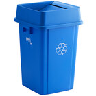 Lavex Janitorial 19 Gallon Blue Square Recycle Bin with Swing Lid