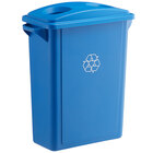 Lavex Janitorial 16 Gallon Blue Slim Rectangular Recycle Bin with Bottle / Can Lid
