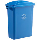 Lavex Janitorial 16 Gallon Blue Slim Rectangular Recycle Bin with Paper Slot Lid