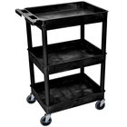 Luxor STC111 Black 3 Tub Utility Cart - 18