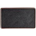 Acopa Heika 13 3/4 inch x 8 inch Black Matte Textured Rectangular Flat Stoneware Plate - 12/Case