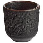 Acopa Heika 1.5 oz. Black Matte Textured Stoneware Sake Cup - 24/Case
