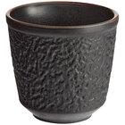 Acopa Heika 12 oz. Black Matte Textured Stoneware Mug - 12/Case