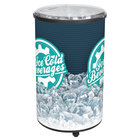 IRP Ice Hawk 3101136 Insulated Portable Round Barrel Beverage Cooler / Merchandiser with Lid and Casters 70 Qt. - Black