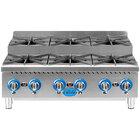 Globe GHPSU636G 36 inch Gas Countertop Step-Up Range / Hot Plate with 6 Burners - 180,000 BTU