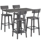 Lancaster Table & Seating 30 inch x 48 inch Antique Slate Gray Solid Wood Live Edge Bar Height Table with 4 Bar Chairs