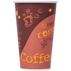 Choice 16 oz. Coffee Print Poly Paper Hot Cup - 50/Pack