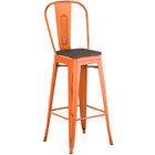 Lancaster Table & Seating Alloy Series Distressed Orange Metal Indoor Industrial Cafe Bar Height Stool with Vertical Slat Back and Black Wood Seat