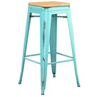 Lancaster Table & Seating Alloy Series Distressed Seafoam Stackable Metal Indoor Industrial Barstool with Natural Wood Seat