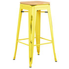 Lancaster Table & Seating Alloy Series Distressed Yellow Stackable Metal Indoor Industrial Barstool with Natural Wood Seat