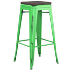 Lancaster Table & Seating Alloy Series Distressed Green Stackable Metal Indoor Industrial Barstool with Black Wood Seat