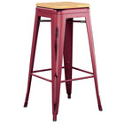 Lancaster Table & Seating Alloy Series Distressed Sangria Stackable Metal Indoor Industrial Barstool with Natural Wood Seat