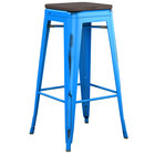 Lancaster Table & Seating Alloy Series Distressed Blue Stackable Metal Indoor Industrial Barstool with Black Wood Seat