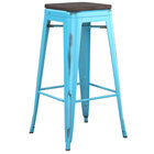 Lancaster Table & Seating Alloy Series Distressed Arctic Blue Stackable Metal Indoor Industrial Barstool with Black Wood Seat