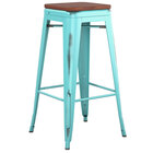 Lancaster Table & Seating Alloy Series Distressed Seafoam Stackable Metal Indoor Industrial Barstool with Walnut Wood Seat