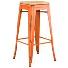 Lancaster Table & Seating Alloy Series Distressed Orange Stackable Metal Indoor Industrial Barstool with Natural Wood Seat