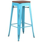 Lancaster Table & Seating Alloy Series Distressed Arctic Blue Stackable Metal Indoor Industrial Barstool with Walnut Wood Seat