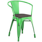 Lancaster Table & Seating Alloy Series Distressed Green Metal Indoor Industrial Cafe Arm Chair with Vertical Slat Back and Black Wood Seat