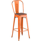 Lancaster Table & Seating Alloy Series Distressed Orange Metal Indoor Industrial Cafe Bar Height Stool with Vertical Slat Back and Walnut Wood Seat
