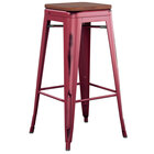 Lancaster Table & Seating Alloy Series Distressed Sangria Stackable Metal Indoor Industrial Barstool with Walnut Wood Seat