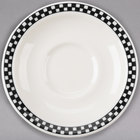 Homer Laughlin 2831636 Black Checkers 5 1/2 inch Creamy White / Off White China Texas Saucer - 36/Case