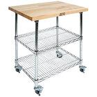 John Boos & Co. MET-MWC-1 Metropolitan 21 inch x 27 inch Two-Shelf Chrome Wire Utility Cart with Wood Top