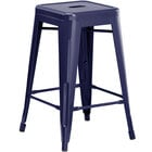 Lancaster Table & Seating Alloy Series Navy Stackable Metal Indoor / Outdoor Industrial Cafe Counter Height Stool with Drain Hole Seat