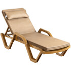 Lancaster Table & Seating Sand Stacking Adjustable Resin Chaise with Beige Cushion and Pillow