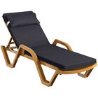 Lancaster Table & Seating Sand Stacking Adjustable Resin Chaise with Black Cushion and Pillow