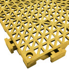 Cactus Mat 2557-YT Poly-Lok 12 inch x 12 inch Yellow Vinyl Interlocking Drainage Floor Tile - 3/4 inch Thick