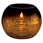 Sterno Products 80288 Amber Glass Sphere Liquid Candle Holder with Crackle Base Finish