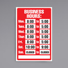 Cosco 098071 12 inch x 8 inch Business Hours Sign with Numbers
