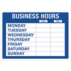 Cosco 098023 14 inch x 10 inch Business Hours Sign with Numbers