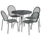 Lancaster Table & Seating Harbor Black 36 inch Round Dining Height Powder-Coated Steel Mesh Table with Ornate Legs and 4 Side Chairs