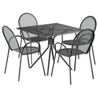 Lancaster Table & Seating Harbor Black 36 inch Square Dining Height Powder-Coated Steel Mesh Table with Modern Legs and 4 Armchairs